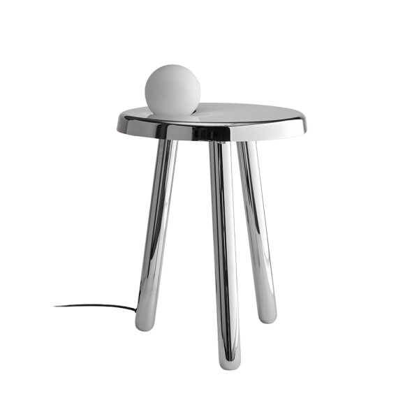 Alby - Small Table with Lamp - Polished White Nickel