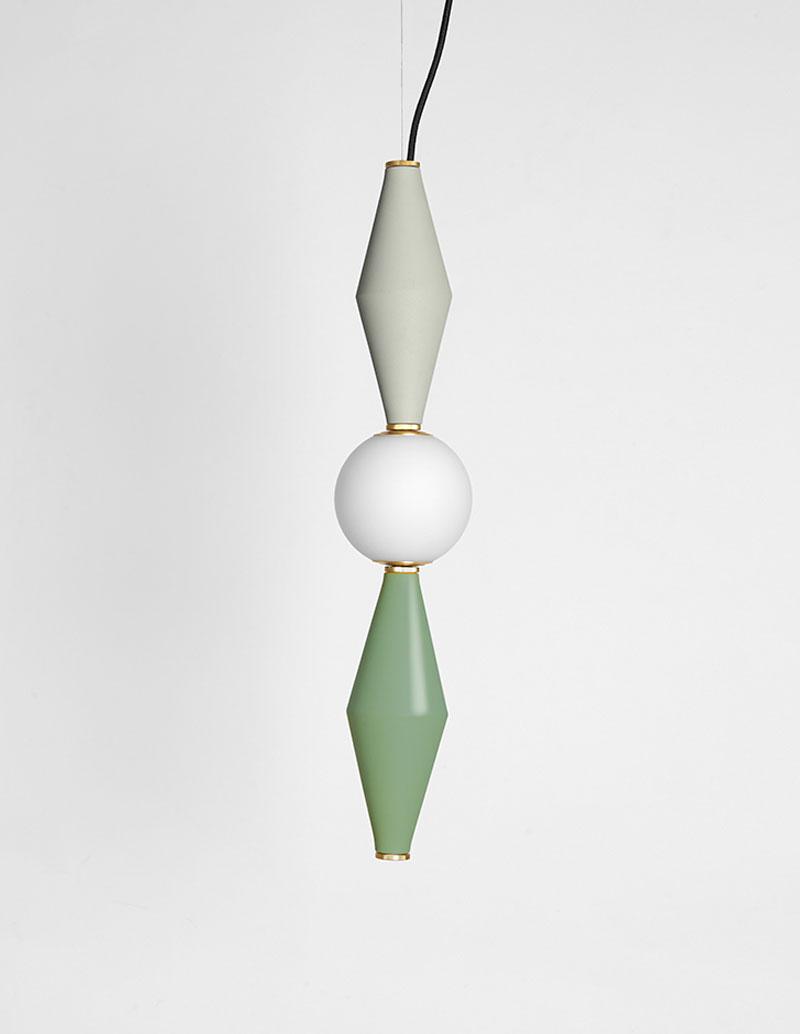 Gamma - Hanging Lamp D - Light Grey/Sage Green