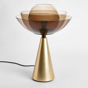 Lotus Fumé - Table Lamp - Brass and Smoked Transparent Glass