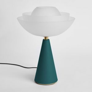 Photo of Lotus table lamp in petrol green by Mason Editions
