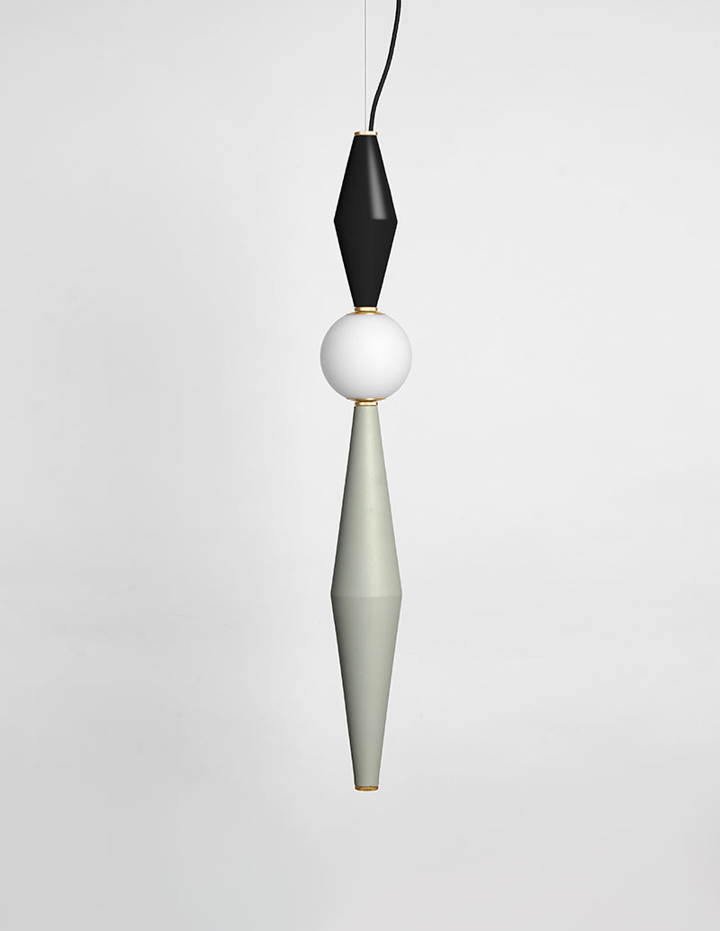 Gamma - Hanging Lamp F - Black/Light Grey