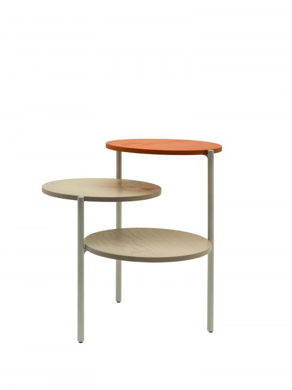 Triplo - Side Table - Grey & Pumpkin Orange