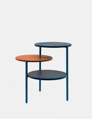 Triplo - Side Table - Blue & Coral